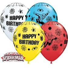 "5 x Spiderman Birthday Balloons - 11"" mixed colours latex"