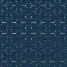 metro illusion geometric wallpaper blue gold wow005 world of