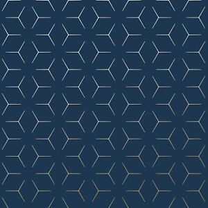 Image Is Loading METRO ILLUSION GEOMETRIC WALLPAPER NAVY BLUE GOLD WOW005