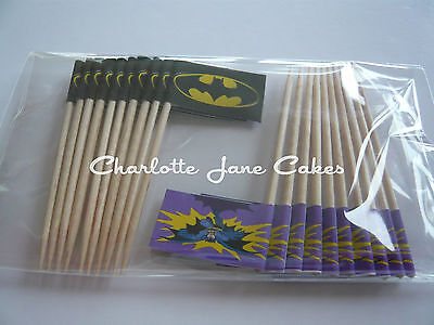 20 CUPCAKE FLAGS/TOPPERS - BATMAN CHILDRENS BIRTHDAY PARTY