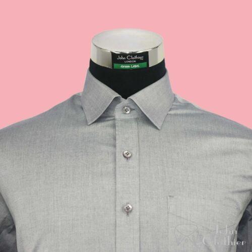 Nuovo Semi Aperto Tagliati Colletto Uomo Camicie Grigio Milange Cotone Morbido 1qw1Zrx
