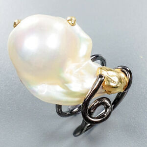 Baroque-Pearl-Ring-Silver-925-Sterling-Unique-Jewelry-Size-7-R132335