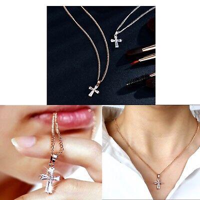 Women/'s Cubic Zirconia Silver /& Rose Gold Cross Pendant Necklace Jewellery Gift