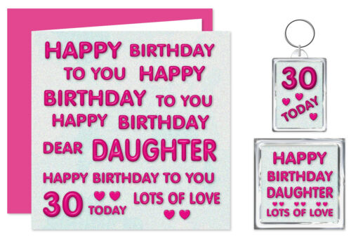 Ages 11-60 Daughter Happy Birthday Gift Set Card Keyring /& Magnet Pink