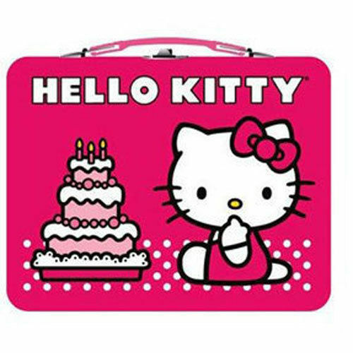 Tin Metal Lunch Snack Toy Box Embossed HELLO KITTY Birthday Cake Red NEW