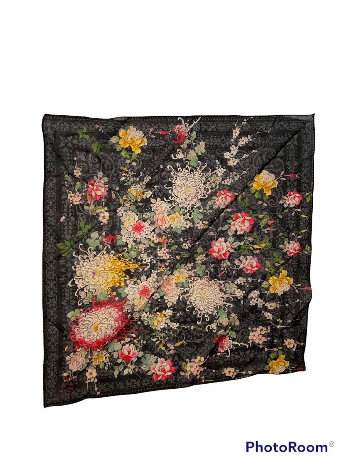 NIP Johnny Was 100% Cotton Bandana Scarf Black Floral Print