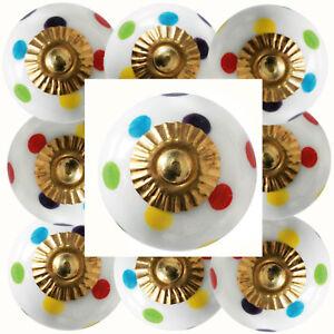 Moebelknoepfe-Set-6-8-10-STK-Griffe-Blau-Gruen-Keramik-Knoepfe-Moebelknopf-Punkte-188