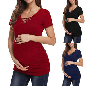 Fashion-Women-Pregnancy-Maternity-Short-Sleeve-Tops-Solid-Bandage-Blouse-T-Shirt