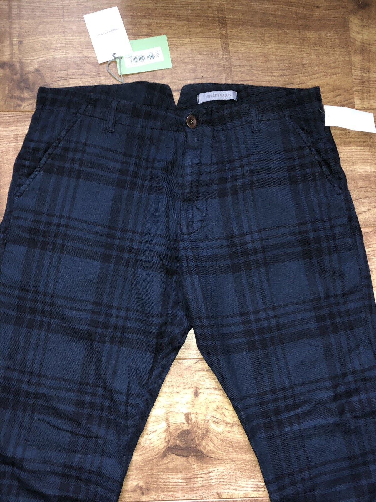 65% 65% 65% di sconto BALMAIN Navy Tartan Pantaloni con tasca con zip W32 IT48 Soft Cotton 8a0546