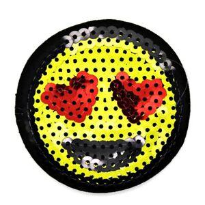 patch aufn her smiley emoji herz pailletten gelb aufb gler. Black Bedroom Furniture Sets. Home Design Ideas