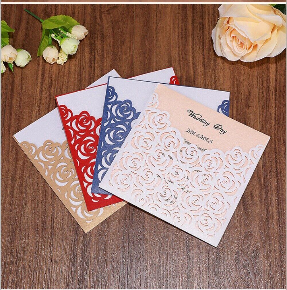 50 100PCS Rose Creux Découpé au laser de poche mariage invite invitation Card Printing