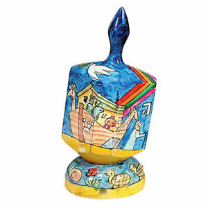Noah-039-s-Ark-Hand-Painted-Dreidel-with-Stand-Chanukah-Hand-Made-in-Israel