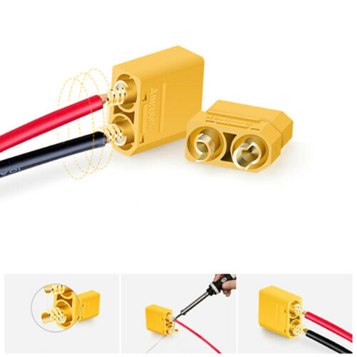 2 pairs XT90 battery connector set 4.5mm male gold plated banana plug EP