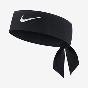 New Womens Nike Head Tie Dri Fit 2.0 Black Headband Tennis Running ... 408b04642