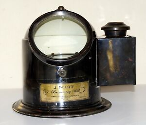 Antique-Brass-Binnacle-Gimbal-Compass-Marine-Ships-Helmet-Oil-Lamp-Style-J-Scott
