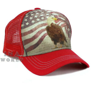 USA American Flag hat Vintage USA Flag   Eagle Mesh Snapback ... 2f7e6964044