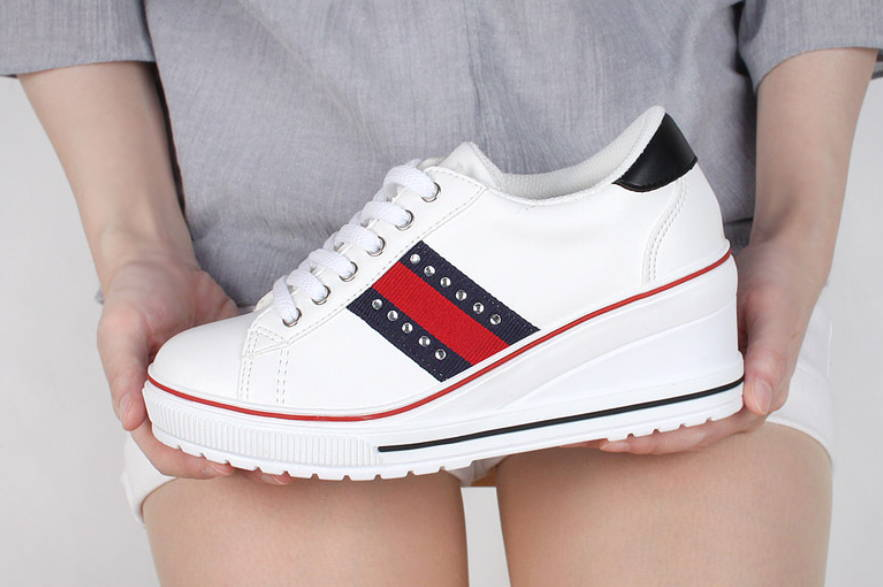 New mujer Casual Studs Lace Lace Lace Up Mid Heels Platform Wedges Fashion zapatillas zapatos  se descuenta