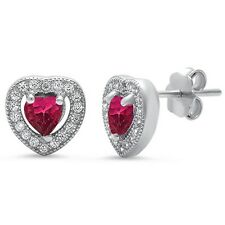 Ruby & Pave Cz Heart .925 Sterling Silver Earrings