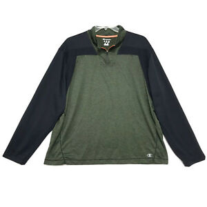 Champion-Elite-1-4-Pull-Over-Shirt-Mens-Size-XXL-2XL-Green-Long-Sleeve