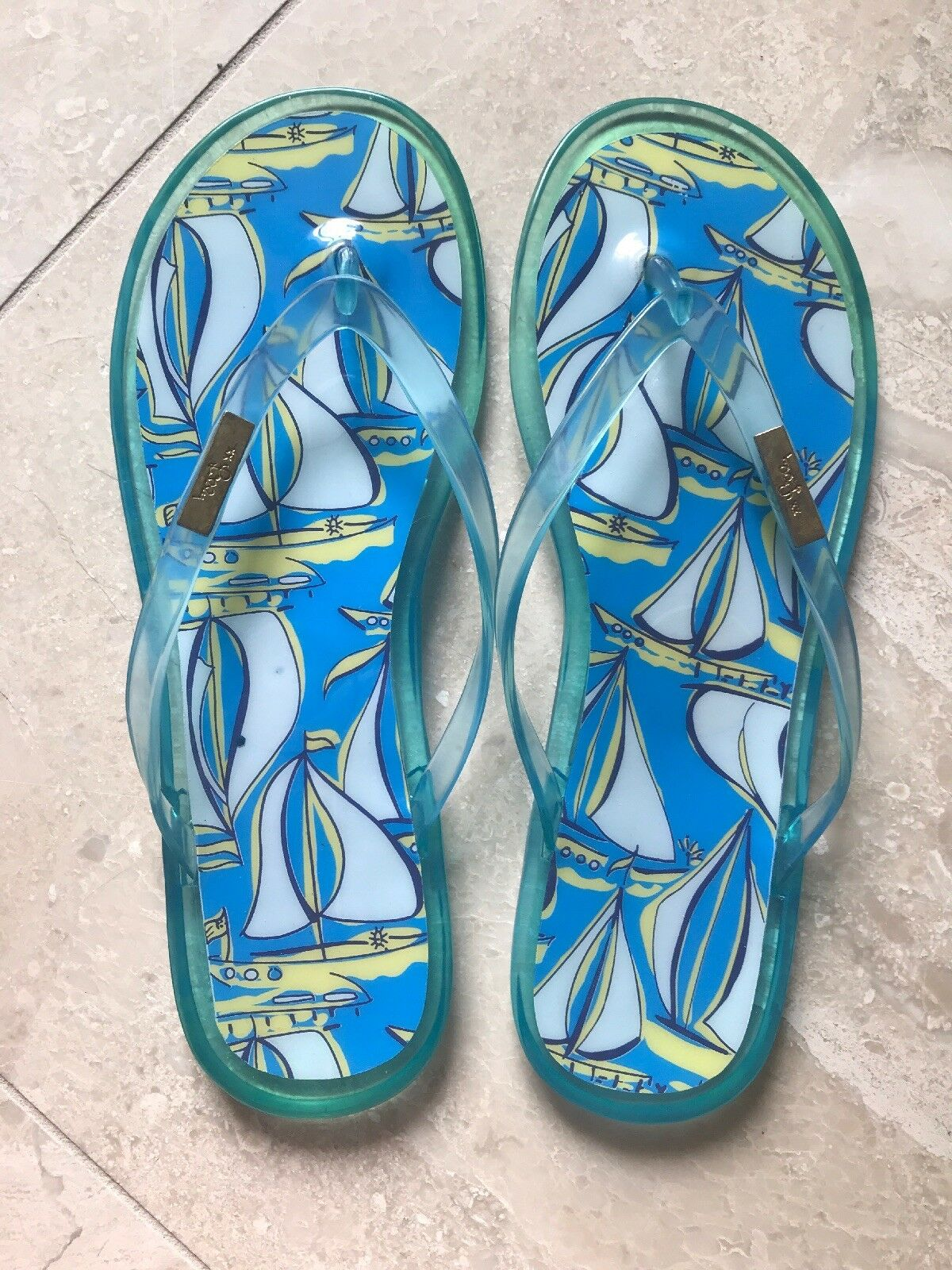 Lilly Pulitzer Beach Flip Flops Pattern Size 9 With Sailboat Pattern Flops 9c5c40