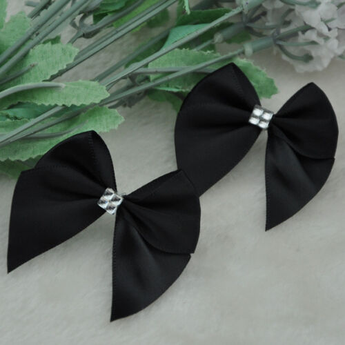 40pcs Ribbon Bows Flower the Rhinestone Appliques Sewing Craft Lots A227