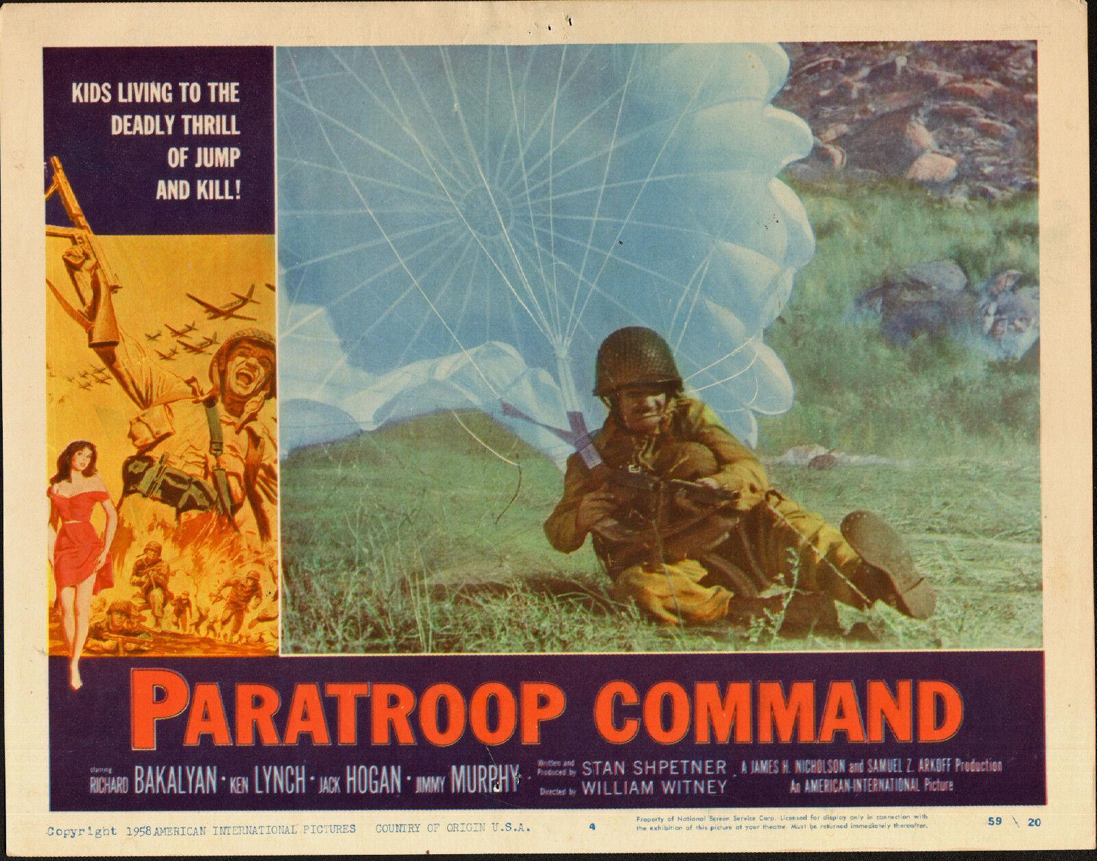 PARATROOP COMMAND original 1959 WW2 movie poster SKY DIVING PARACHUTING
