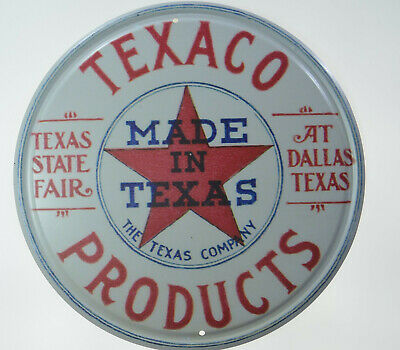 """TEXACO GASOLINE GAS AND OIL TEXAS COMPANY 12/"""" ROUND METAL WALL SIGN"""