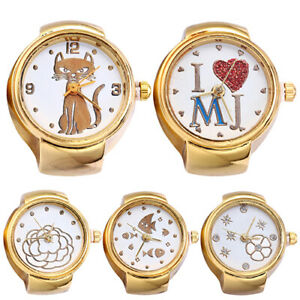 AM-Lady-Girl-Golden-Tone-Round-Elastic-Alloy-Quartz-Watches-Finger-Ring-Watch-S