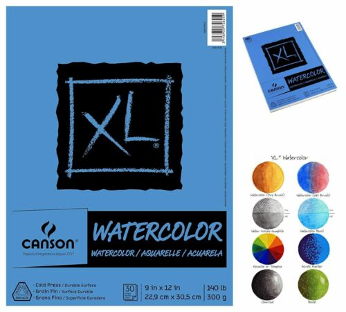 "30-Sheets Watercolor Cold Press Textured Paper Pad 9/"" x 12/"""