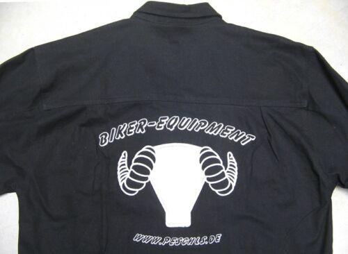 Bikerhemd schwarz Langarm mit Peschls-Stick Peschls-Hemd super Qualität