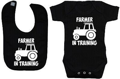 Farmer in Training Babygrow Romper /& Feeding Bib 0-24m Boy Girl Gift Tractor