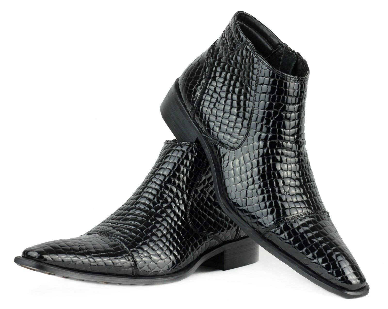 Mens Snake Skin Effect Real Leather Hi Shine Italian Boots Side Zip Fastening