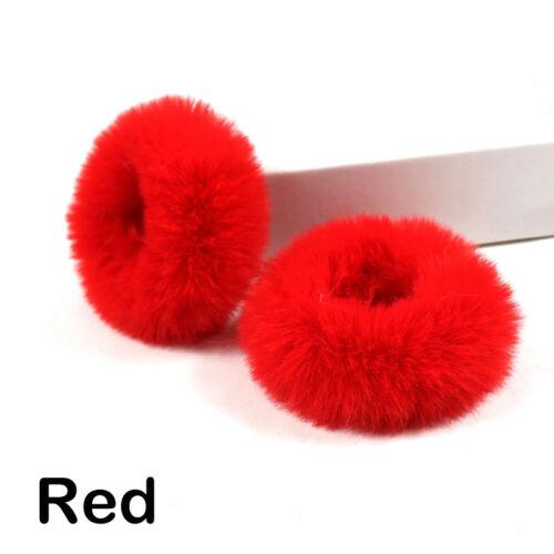 2Pcs Mädchen Kunstpelz Haar Ring Seil Pelzigen Scrunchie Elastisches Haar Ring