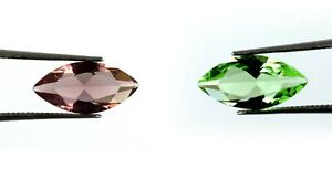 Marquise Cut Green & Pink Sapphire 4.15 Ct Gemstone Pair Natural AGI Certified