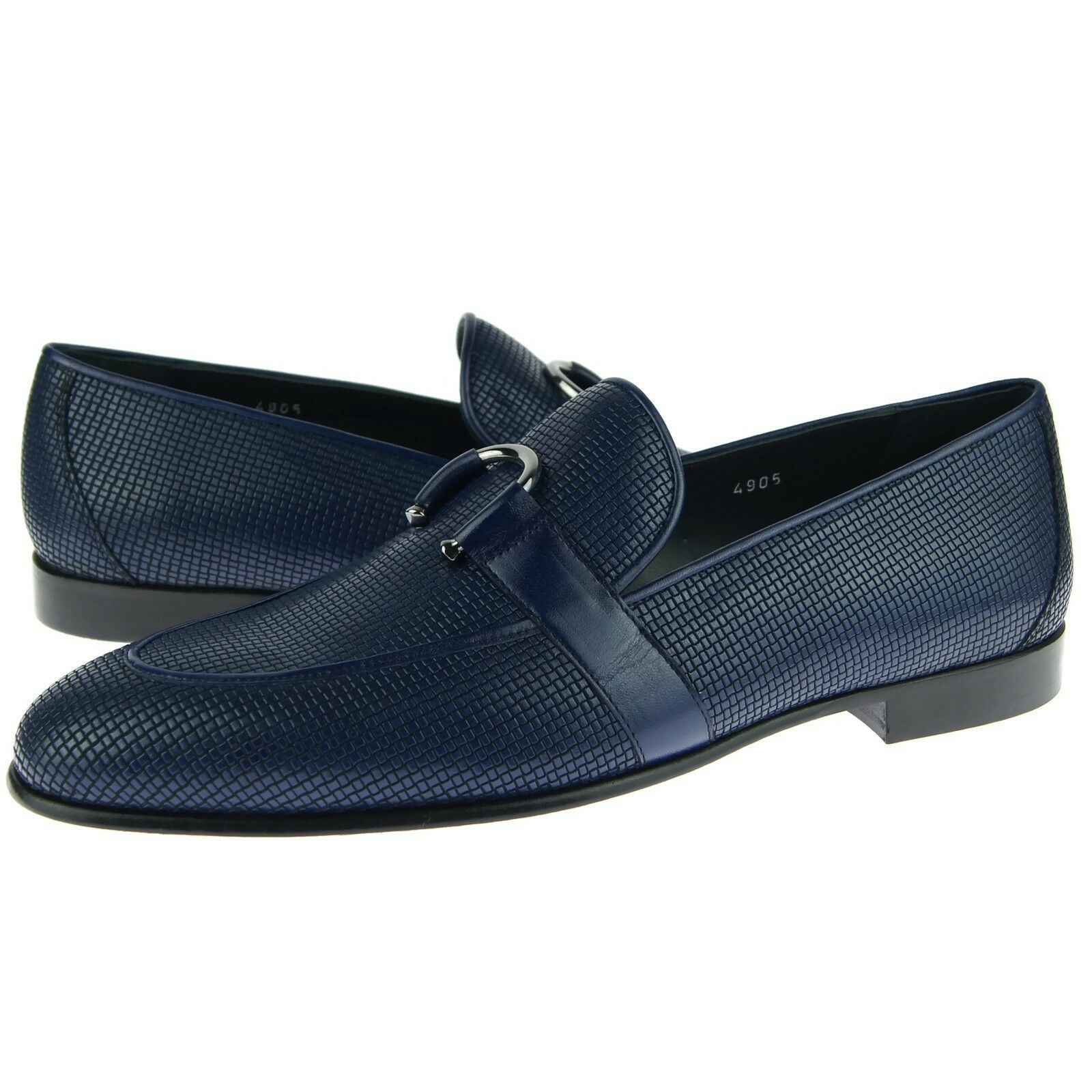 Corrente 4905 Woven Bit Loafer, Men's Slip-on Leather Shoes, Blue 7US/39EU