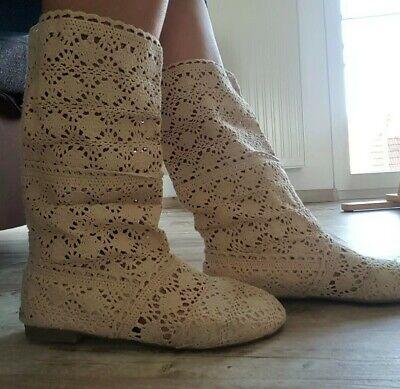 Damenschuhe Kniehohe Sommer Stiefel Stiefeletten Flach Sandalen Lochmuster 3940 | eBay