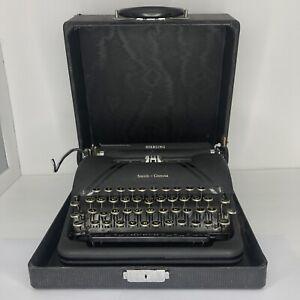 VTG 1946 Smith Corona Sterling Typewriter Black w/Case Floating Shift 4ATuxedo