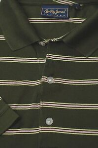 Bobby-Jones-Men-039-s-Green-White-amp-Yellow-Stripe-Cotton-Golf-Polo-Shirt-S-Small