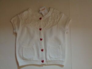 GYMBOREE Butterfly Girl White Sweater Button Up Short Sleeves Size 12-18 2T NEW