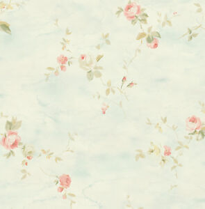 Details About Floral Wallpaper Blue Pink Green Abstract Watercolor Paintings Samples Available