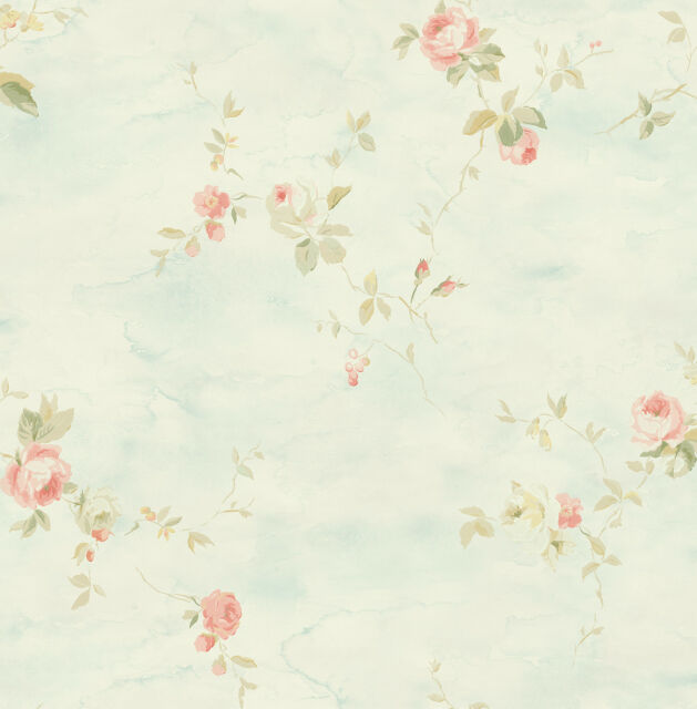 Floral Wallpaper Blue Pink Green Abstract Watercolor Paintings Samples Available
