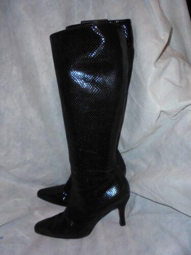 Russ & Bromley Women Black Snake hoch Leder BOOT Größe UK 4.5 EU 37.5 / 7.5