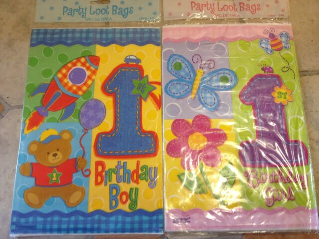 Babys 1st Birthday Party Loot Bags Boy or Girl Pack of 8 Bags