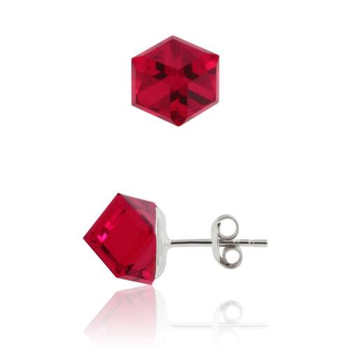 Cubo De Plata Esterlina Pendientes Stud las publicaciones hechas con cristales Swarovski ® 4841 8 mm