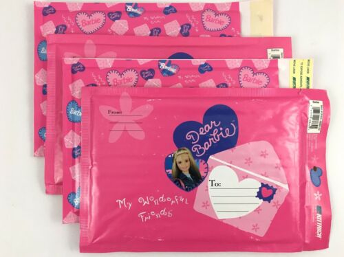 NEW OLD STOCK 6x9 Barbie Bubble Mailers 1999 Mattel Mailing Envelopes LOT OF 4