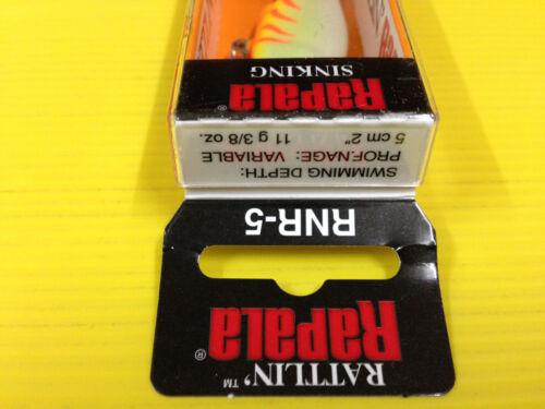 Rapala Rattlin/' Rap RNR-5 OTU Orange Tiger UV Color Sinking Fishing Lure.