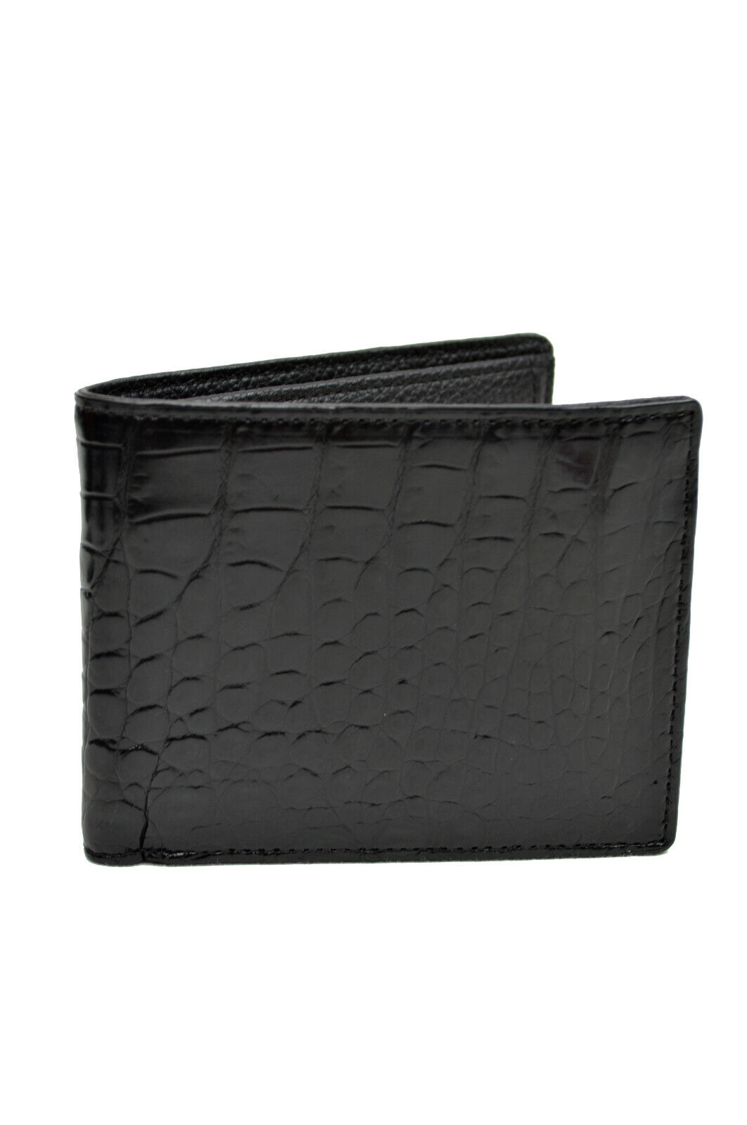 Fashion Mens Black Crocodile Leather Bifold Wallet With ID Card Slot 8117-5
