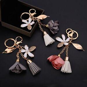 Charm-Car-Women-Bag-Tassel-Cute-Crystal-Key-Ring-Flower-Key-Chain-Keychain