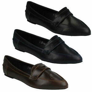 Ladies Spot On Slip On Pointed Toe Loafers