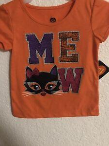 "Baby 12 Month Halloween T-Shirt Cat ""Meow"""